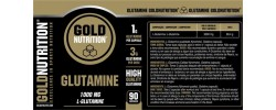 Etiqueta original da embalagem de Glutamina Goldnutrition 1000mg