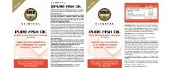 Etiqueta original da embalagem de Pure Fish Oil GoldNutrition Clinical